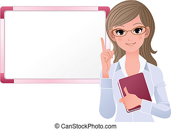 Cute woman lecturing besides white board. Gradients, Blending tool is used.