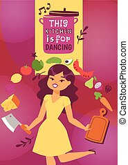 Cute woman moving with kitchen utensils vector illustration. Cooking appliances and restaurant supplies and food background. This kitchen is for dancing. Cutting food on wooden board.