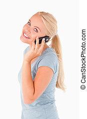 Cute woman on a phone