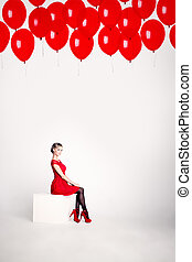 Cute Woman on White Background with Red Balloons