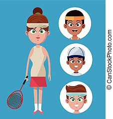 cute woman player tennis with racket-group players