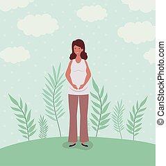 cute woman pregnancy in the landscape