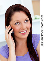 cute woman speaking on phone