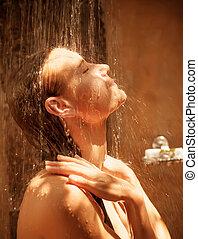 Cute woman take shower outdoors, people hygiene, enjoying...
