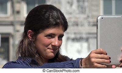 Cute Woman Taking Selfie With Tablet
