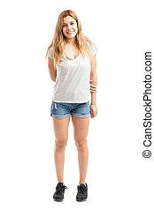Cute woman wearing shorts