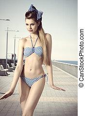 cute woman with bikini