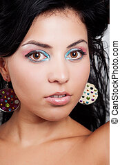 Cute woman with nice colorful make-up