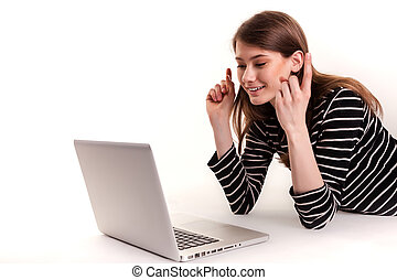 Cute Woman with PC Hand Raised Good News Stock Image