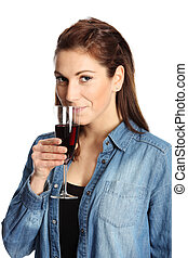 Cute woman with red wine glass