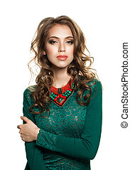 Cute Woman with Wavy Hairstyle and Makeup  in Green Dress Isolated on White Background