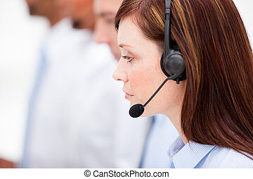Cute woman working in a call center