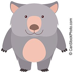 Cute wombat with happy face