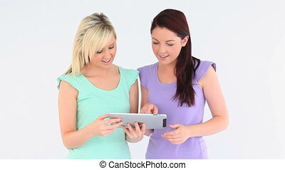 cute women with a tablet