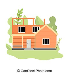 Cute wood cottage unde construction first week