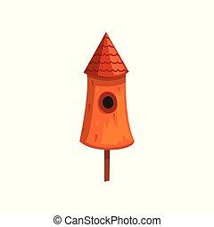 Cute wooden bird house, nesting box cartoon vector Illustration on a white background