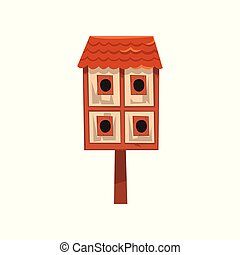 Cute wooden two storied bird house, nesting box cartoon vector Illustration on a white background