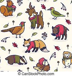 Cute woodland animal cartoon seamless vector pattern background.