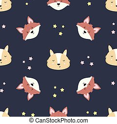 Cute woodland seamless pattern with foxes
