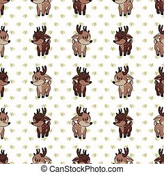 Cute woodland two buck vector illustration. Buck deer with ...
