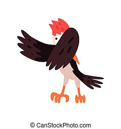 Cute woodpecker bird cartoon character flapping his wings vector Illustration on a white background