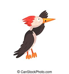 Cute woodpecker looking into the distance, funny bird cartoon character vector Illustration on a white background
