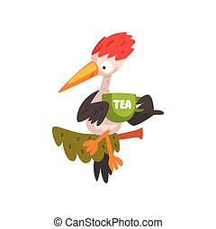 Cute woodpecker sitting on a branch with a cup of tea, funny bird cartoon character vector Illustration on a white background