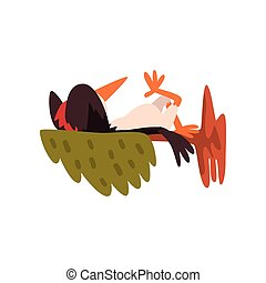 Cute woodpecker sleeping on a tree branch, funny bird cartoon character vector Illustration on a white background