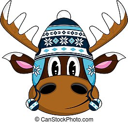 Cute Wooly Hat Reindeer - Cute Cartoon Wooly Hat Christmas...
