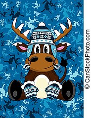 Cute Wooly Hat Reindeer - Cute Cartoon Wooly Hat Reindeer...