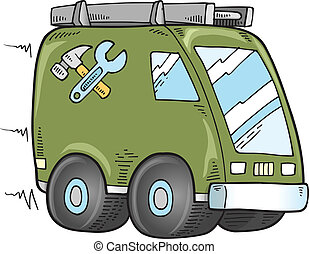 Cute Work Truck Doodle Vector art