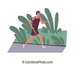 cute, workout., modernos, activity., sorrindo, morning., engraçado, jovem, esportes, apartamento, condicão física, executando, rua., ao longo, caricatura, homem, treinamento, illustration., saudável, atleta, diariamente, sacudindo, vetorial, ao ar livre, macho, ou
