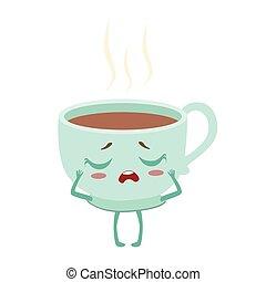 cute, xícara café, alimento, personagem, ilustração, quentes, vetorial, anime, humanized, caricatura, emoji