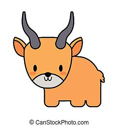 cute yak kawaii, line and fill style icon
