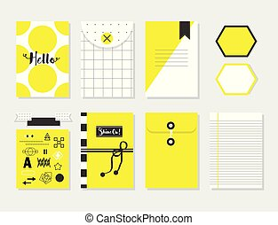 Cute yellow and white trendy paper sheet and envelope set with design elements
