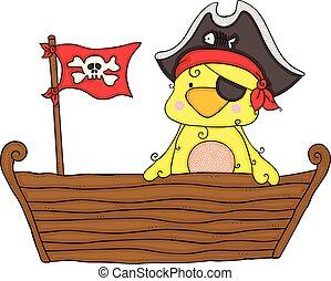 Cute yellow bird pirata on wooden boat