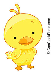 Cute Yellow Bird with Clipping Path