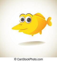 cute yellow cartoon fish - illustration
