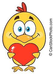 Cute Yellow Chick Cartoon Character Holding Valentine Love...
