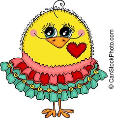 Cute yellow chick with skirt
