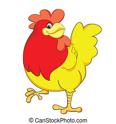 cute yellow chicken of vector