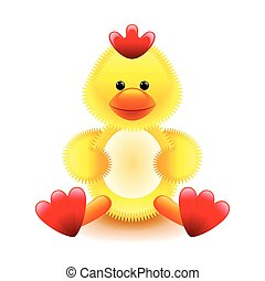 Cute yellow chicken soft toy isolated on white vector...
