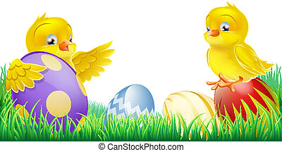 Cute yellow chicks and Easter eggs