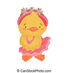 Cute yellow duckling girl in dress. Vector illustration on a white background.