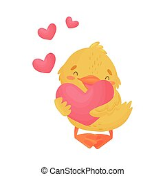 Cute yellow duckling in love. Vector illustration on a white background.