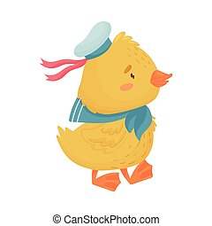 Cute yellow duckling sailor. Vector illustration on white background.