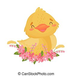 Cute yellow duckling sits in flowers. Vector illustration on white background.