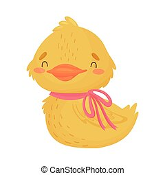 Cute yellow duckling. Vector illustration on white background.
