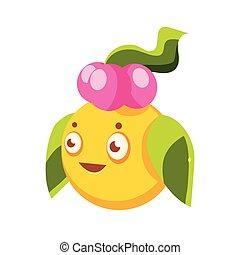 Cute yellow fantastic plant character round shape, nature element cartoon vector Illustration