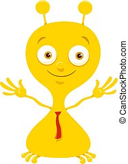 Cartoon Illustration of Cute Yellow Fantasy or Fairy Tale Character